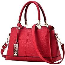 Mujer Moda Vintage Estilo Cuero de Pu Bolsos Totalizador Práctico de Mano Bolso Handbags con Correa