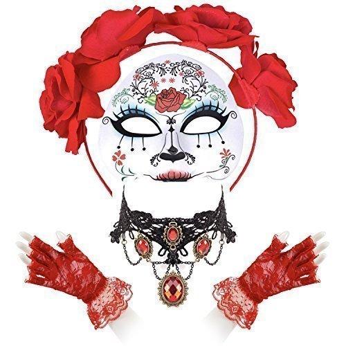 Damen Zuckerschädel Tag der Toten Satz - Maria Maske, Rot Spitzenhandschuhe, Blumen Muster Kopfband & rot Jewell Halskette