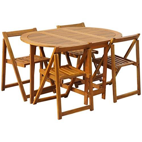Festnight Meuble de Jardin Salon de Jardin 1 Table et 4 Chaises Pliable Bois d'Acacia Solide pour Patio ou Balcon