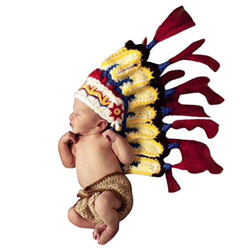 Happy Cherry Neugeborenes Baby Indianer Figur Foto Kostüm Fotografie Prop Handarbeit Bekleidungsset Fotoshooting Stricken Tiere Kostüm Unisex Baby Trikot Foto Outfits Requisiten Für 3-4 Monate (Baby Indianer Kostüm)