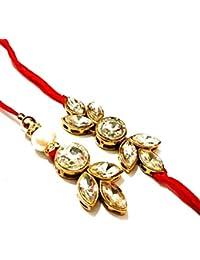 JN HANDICRAFT Gold Non-Precious Metal Kundan Couple Rakhi for Men and Women