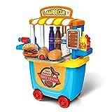 E T Grill BBQ Rollenspiel Spielzeug 33st Essen Spielset Spielzeuge mit Tragetasche für 2 3 4-jährige Mädchen Jungen