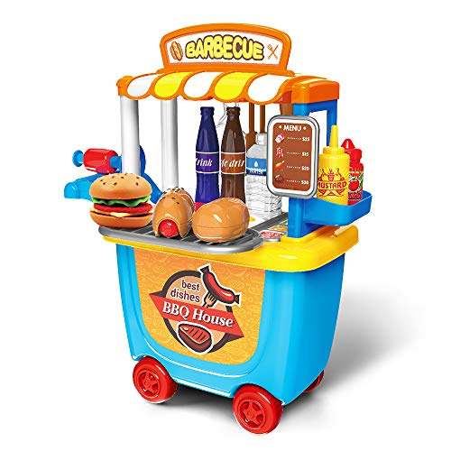 E T Küchenspielzeug 33 Stücke Grill BBQ Essen Spielset Kinder Pädagogisches Lernen Spielzeug Rollenspiele Geschenk für 2 3 4 jährige Mädchen Jungen - Mädchen Geschenke 3-jähriges