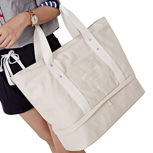 Q.KIM Große Kapazität Multifunktionale Leinwand Reisetaschen Wochenendtasche Einkaufstaschen Mama Handtasche Handgepäck Reisetasche mit Schuhfach,Grün Elfenbein weiß