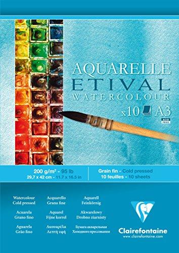 Clairefontaine Etival kaltgepresster Zeichenblock für Aquarellmalerei, weiß, A3, 200g