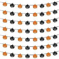 Demarkt Pumpkin Halloween DIY Paper Flag Triangle Flag Banner Bunting Indoor Decoration for Pub Club School Festival Party