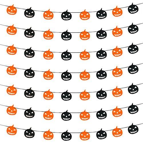 Nikgic Halloween Kürbis Party Flagge Dreieckige Flagge Banner kleine Wimpel für Halloween Dekoration Zubehör 200cm lang (Diy Spukhaus Requisiten)