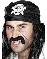 Smiffy's Pirate Bandanna with Skull and Crossbones - Black