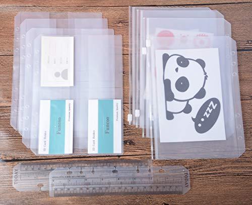 Funcoo raccoglitore ad anelli in plastica con cerniera/bill/sacchetto di carta di nome, set da 8raccoglitori planner notebook ricariche inserti + 2plastica segnalibro righello di misura per raccoglitore ad anelli notebook A5(8.26'' x 5.82'')