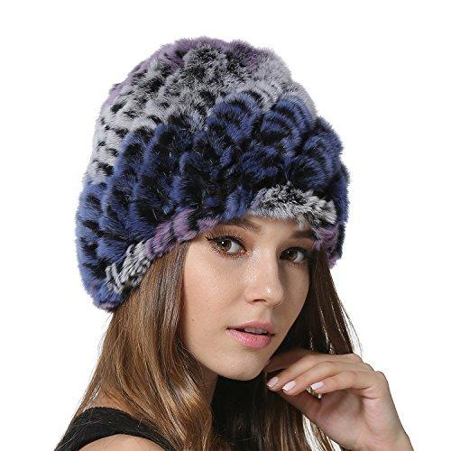 MEEFUR Beanie invernale ragazze calde cappellini Donne Real Rex cappello di  pelliccia di coniglio in maglia 8c408f8d9ed