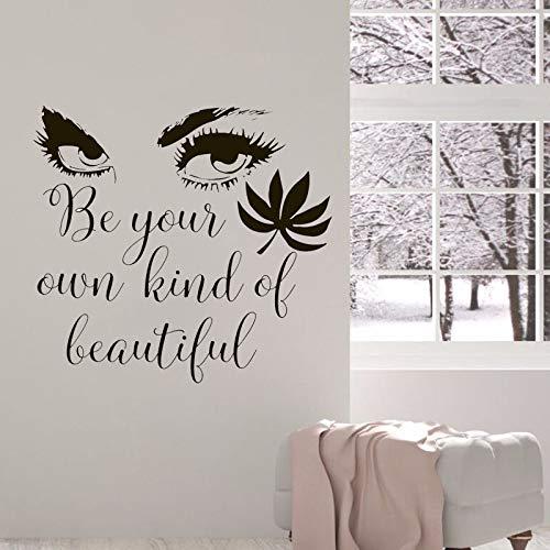 jiuyaomai Große Augen Wandtattoos Schönheitssalon Wimpern Wandaufkleber Vinyl Schöne Mädchen Kunst Zitat Dekor Mode Friseur Wandbild 45x42 cm