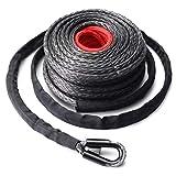 9.5mm * 28m corda per cavo sintetico per verricello 20500LBs Gancio + passacavo falciante per fuoristrada Veicolo sportivo per lo sport (colore: nero e grigio e rosso)
