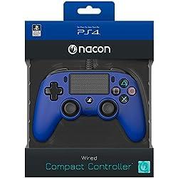 Manette filaire Compact Controller Nacon Bleue pour PS4 compatible PC