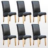 More4Homes Cambridge Lot de 6 chaises de salle à manger à haut dossier Pieds en bois finition chêne et revêtement en cuir Noir