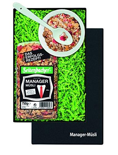 Müsli Geschenkset für Manager: 1 große Packung Seitenbacher Müsli 750g, 1 Porzellan-Müslischale Ø 12,8 cm, 1 Keramik Müslilöffel