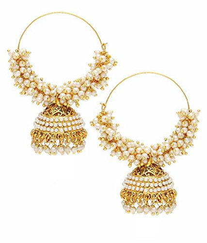 Bollywood Jewelry Party Wear Gold Plated Traditional Pearl Polki Hoop Earrings/jewellery For Girls/Women