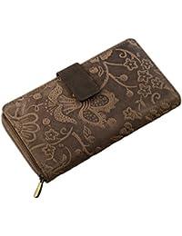 STILORD 'Greta' Vintage Retro Maletín Monedero portamonedas rjeta de crédito identificación pasaporte Cartera Mujeres noble de la calidad de cuero Flores Piel