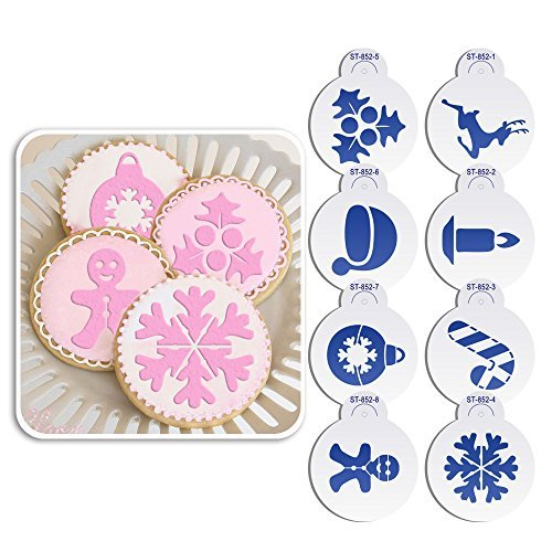 ART Kitchenware 8pcs Christmas Cookie Stencil Set Icing Royal Stencil Tool Deer,Candle,Snowflake,Hat,Crutch Stencils for Cake ST-852 Beige/Semi-Transparent by Art Kitchenware (Cookie Christmas Icing)
