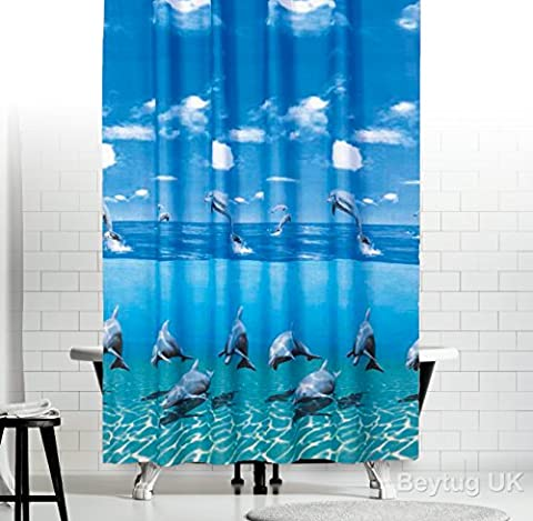 Rideau de douche en tissu antibactérien, Largeur étroite, extra long–Dolphin 120x 200cm (119,4x 198,1cm)