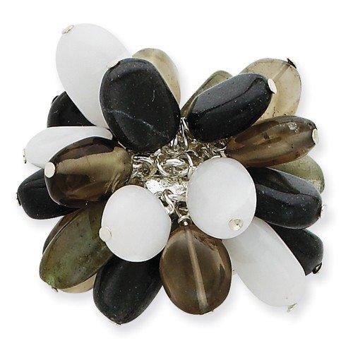 Sterling Silver quarzo fumé / Bianco giada / agata verde anello Dimensione 29,5