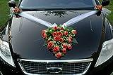 SPITZE STRAUß Auto Schmuck Braut Paar Rose Deko Dekoration Autoschmuck Hochzeit Car Auto Wedding Deko PKW (Lachs)