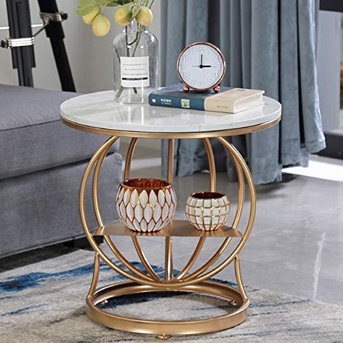 Table basse nordique en fer salon rond table d'appoint table de chevet étagère doré plateau en marbre/plateau en bois massif (Couleur : Gold-solid wood countertops)