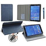Emartbuy® Energy Sistem Neo 2 Tablet 7 Pulgada Universal ( 7 - 8 Pulgada ) Dark Azul Premium Cuero PU Ángulo Múltiples Executive Folio Carcasa Wallet Case Grey Con Tarjeta de Slots Interior + Azul Lápiz Óptico