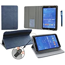 Emartbuy® Polaroid Infinite+ 7 Pulgada Tablet Universal ( 7 - 8 Pulgada ) Dark Azul Premium PU Leather Ángulo Múltiples Executive Folio Wallet Case Cover Grey Con Tarjeta de Slots Interior + Azul Lápiz Óptico
