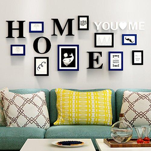 Cadre matériel de PS, cadre de photo moderne de mur accrochant la combinaison de mur, avec des images et la décoration murale, ensemble de 9 cadres @The harvest season ( Couleur : Blue+black )