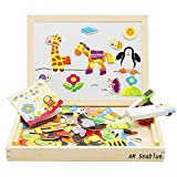 AM Seablue 100 Pieces Wooden Toy Drawing Writing Board Magnetic Easel Jigsaw Puzzle Game, Double Face Jigsaw& Drawing Easel Toys for Kidsr3 Years Old (HL-2)