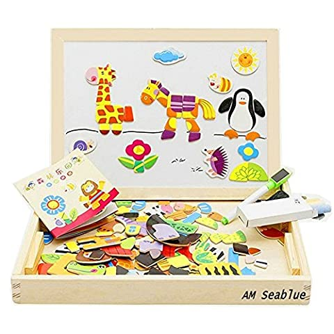 AM Seablue 100 Pieces Wooden Toy Drawing Writing Board Magnetic Easel Jigsaw Puzzle Game, Double Face Jigsaw& Drawing Easel Toys for Kidsr3 Years Old