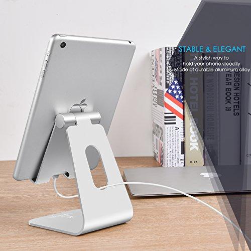 iPad Ständer, Lamicall Multi-Winkel Tablet Ständer : iPad Halterung, Handy Ständer, iPhone Ständer, Dock, Wiege für iPad Air Mini 2 3 4, New iPad 2017, iPad Pro 9.7 / 10.5, iPhone X, 8, 7, 7 Plus 6s 6 / Plus, SE, 5 5s 5c, Kindle, Nexus, Tab, E-reader, Tisch Halterung und anderer Tablets (4-11 zoll) - Silber