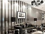 Einfache Moderne Schlafzimmer, Wohnzimmer Und Schwarz - Weißen Vertikalen Streifen Des Östlichen Mittelmeers Tapete 9,5 Meter Lang Und 0,52 Meter Breit (5 M * L),Gray