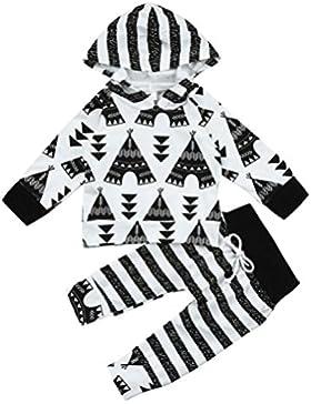 Omiky® Neugeborene Säuglingsbaby-Mädchen-Zelt-Druck-Kapuzenpulli Tops + Pants Outfits Kleider Set