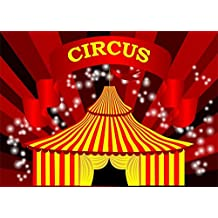 YongFoto 2.2x1.5m Circus Backdrop Cartoon Red Curtain Bokeh Sparkle Spots Backdrops for Photography Stage Show Boys Kids Happy Birthday Vinyl Photo Background Studio Props