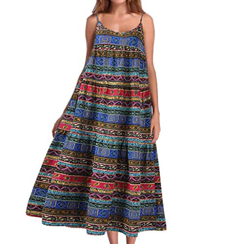 er Damen Sommer Elegant Mädchen Dress Freizeit Party Hochzeit Vintage Ballkleid Qmber Langes Kleid mit Schleuder im ethnischen Stil/Blau,S ()