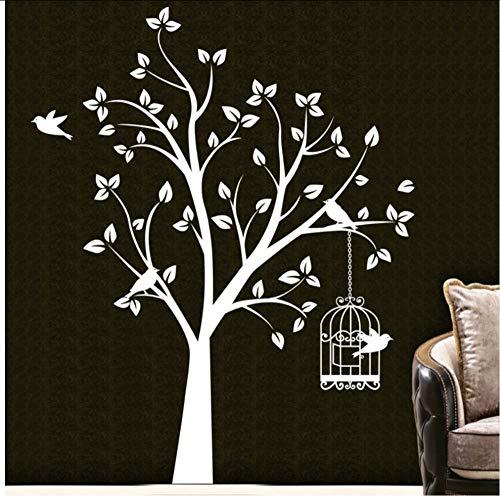 (Hjcmhjc) Gran Árbol De La Selva Pájaros Jaula Arte De La Pared Pegatinas De Vinilo Calcomanía Decoración Para El Hogar Diy Dormitorio Tatuajes De Pared Niños Vivero Tatuaje De Pared 150 * 90 Cm