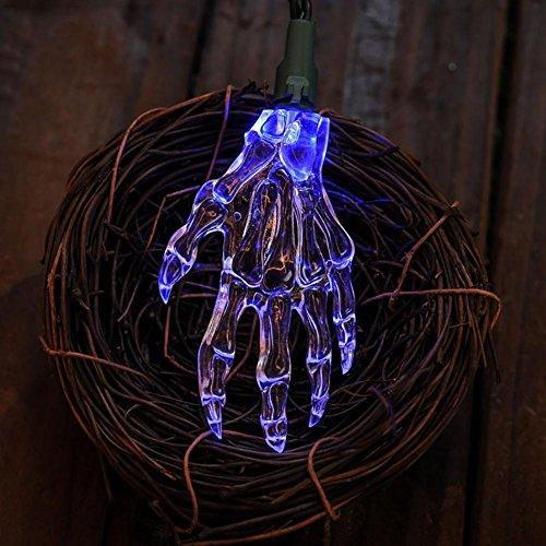 Schädel Handschnur Lichter Halloween schreckliche LED Beleuchtung energiesparende Colorul Lichter Batterie Spg.Versorgungsteil blue light