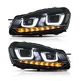 Useka Head Light for MK6Golf GTI 2008-2013LED fari nero e cromo housing