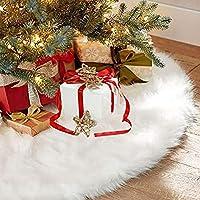 Gonna albero di Natale, AMAUK 35.4inches bianco finto pelliccia albero gonna ornamenti doppio strato di design per Buon Natale e capodanno festa vacanza decorazioni per la casa