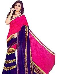 The Wardrobe Women's Georgette Saree(Wardrobe002_Multi-Coloured_Free Size)
