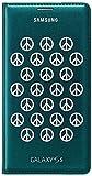 Samsung Flip Wallet Case Cover Schutzhülle mit Kartenfach in Moschino Grün und Silber Peace Design für Samsung Galaxy S5 - Moshino Grün