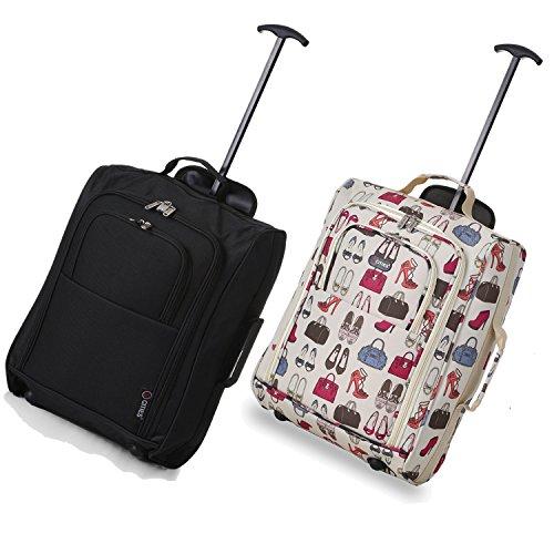 Set von 2 Leichtgewicht Handgepäck Kabinengepäck Flugtasche Koffer Trolley Gepäck Schwarz+Taschen und Schuhe CREME 55CM