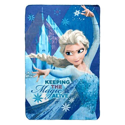'Disney Manta de Elsa de Frozen, con la inscripción 'The Magic Keeping alive, de forro polar, de poliéster, multicolorata, individual