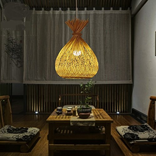 Haoaijia Pendelleuchte Garten Restaurant Bambuspendelleuchten Snack Restaurant Bar Balkon Gang Zen Lampe Pendelleuchten