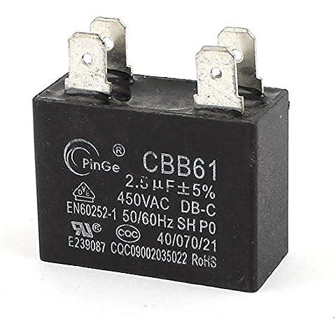 AC 450V 2.5uF acondicionador de aire del ventilador de inicio Película de Polipropileno Condensador