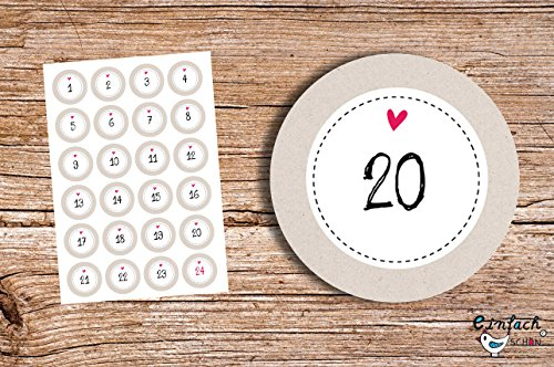 '24adesivi per il calendario dell' avvento