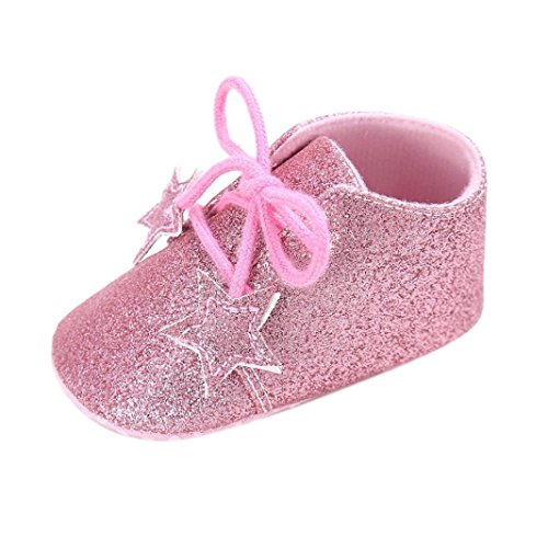 Ouneed® 0- 18 mois Bebe Premier Pas Haute Sneaker Paillete (11, Argente) Rose
