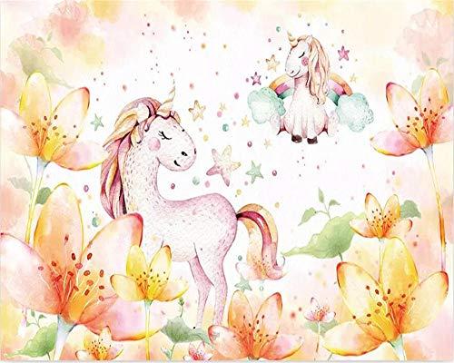 Fototapete Nordischen Minimalistischen Traum Pony Einhorn Kinderzimmer Wandbild 3D Wallpaper -150x105cm -