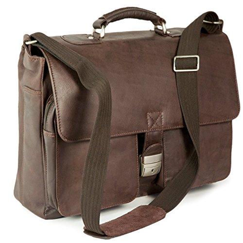 Elegante Aktentasche Größe L / Laptoptasche bis 15,6 Zoll, aus Nappa-Leder, für Damen und Herren, Braun, Jahn-Tasche 750 (Aktentasche Nappa-leder)